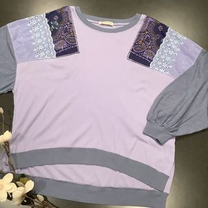 FP We The Free Lavender Oversized Patchwork Top